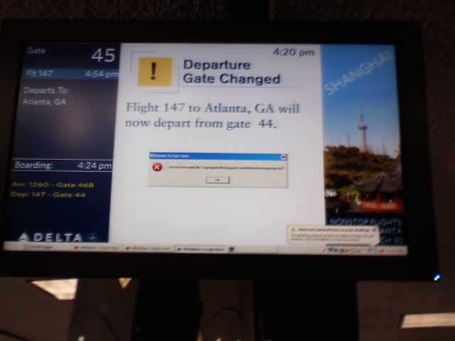 Windows error on a Delta information screen